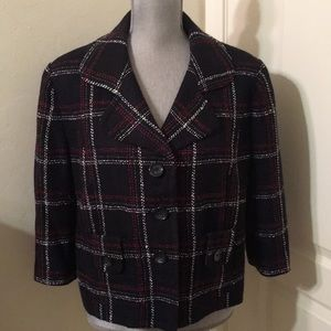Worthington Black Plaid Tweed Jacket Petite XL